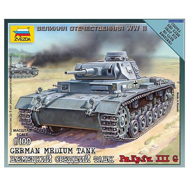 Сборная модель  Немецкий средний танк Pz.Kp.fw.III GВоенная техника и панорама<br>Характеристики:<br><br>• возраст: от 7 лет;<br>• материал: пластик;<br>• масштаб: 1:100;<br>• количество элементов: 9;<br>• клей и краски: не в комплекте;<br>• в наборе: танк, флаг отряда, карточка отряда;<br>• вес упаковки: 55 гр.;<br>• длина модели: 5,4 см;<br>• размер упаковки: 12х14,5х2 см;<br>• страна производитель: Россия.<br><br>Чтобы собрать модель Zvezda «Немецкий средний танк Pz.Kp.fw.III G» не понадобится клей. Элементы надежно скрепляются между собой. Каждая деталь легко и без повреждений отсоединяется от литника. Модель можно раскрасить по цветам из инструкции.<br><br>Сборка улучшает внимательность, мелкую моторику и пространственное мышление. Готовая фигурка является частью игровой системы Art of Tactic «Великая Отечественная», выглядит реалистично и отличается прочностью. Набор понравится не только игрокам, но и моделистам-коллекционерам. Набор выполнен из качественных безопасных материалов.<br><br>Сборную модель «Немецкий средний танк Pz.Kp.fw.III G» можно купить в нашем интернет-магазине.<br>Ширина мм: 120; Глубина мм: 145; Высота мм: 20; Вес г: 55; Возраст от месяцев: 84; Возраст до месяцев: 2147483647; Пол: Унисекс; Возраст: Детский; SKU: 7459661;