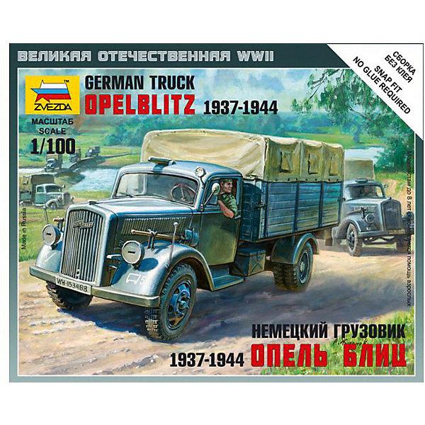 Сборная модель  Немецкий грузовик Опель БлицАвтомобили<br>Характеристики:<br><br>• возраст: от 7 лет;<br>• материал: пластик;<br>• масштаб: 1:100;<br>• количество элементов: 17;<br>• клей и краски: не в комплекте;<br>• в наборе: грузовик, флаг отряда, карточка отряда;<br>• вес упаковки: 40 гр.;<br>• длина модели: 5,8 см;<br>• размер упаковки: 12х14,5х2 см;<br>• страна производитель: Россия.<br><br>Чтобы собрать модель Zvezda «Немецкий грузовик Опель Блиц» не понадобится клей. Элементы надежно скрепляются между собой. Каждая деталь легко и без повреждений отсоединяется от литника. Модель можно раскрасить по цветам из инструкции.<br><br>Сборка улучшает внимательность, мелкую моторику и пространственное мышление. Готовая фигурка является частью игровой системы Art of Tactic «Великая Отечественная», выглядит реалистично и отличается прочностью. Набор понравится не только игрокам, но и моделистам-коллекционерам. Набор выполнен из качественных безопасных материалов.<br><br>Сборную модель «Немецкий грузовик Опель Блиц» можно купить в нашем интернет-магазине.<br>Ширина мм: 120; Глубина мм: 145; Высота мм: 20; Вес г: 40; Возраст от месяцев: 84; Возраст до месяцев: 2147483647; Пол: Унисекс; Возраст: Детский; SKU: 7459663;