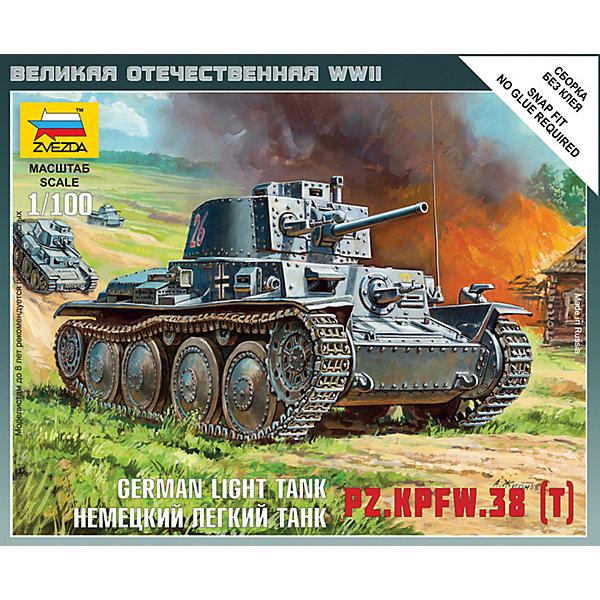 Сборная модель  Немецкий лёгкий танк Т-38Военная техника и панорама<br>Характеристики:<br><br>• возраст: от 7 лет;<br>• материал: пластик;<br>• масштаб: 1:100;<br>• количество элементов: 7;<br>• клей и краски: не в комплекте;<br>• в наборе: танк, флаг отряда, карточка отряда;<br>• длина модели: 4,7 см;<br>• вес упаковки: 40 гр.;<br>• размер упаковки: 12х14,5х2 см;<br>• страна производитель: Россия.<br><br>Чтобы собрать модель Zvezda «Немецкий лёгкий танк Т-38» не понадобится клей. Элементы надежно скрепляются между собой. Каждая деталь легко и без повреждений отсоединяется от литника. Модель можно раскрасить по цветам из инструкции.<br><br>Сборка улучшает внимательность, мелкую моторику и пространственное мышление. Готовая фигурка является частью игровой системы Art of Tactic «Великая Отечественная», выглядит реалистично и отличается прочностью. Набор понравится не только игрокам, но и моделистам-коллекционерам. Набор выполнен из качественных безопасных материалов.<br><br>Сборную модель «Немецкий лёгкий танк Т-38» можно купить в нашем интернет-магазине.<br>Ширина мм: 120; Глубина мм: 145; Высота мм: 20; Вес г: 40; Возраст от месяцев: 84; Возраст до месяцев: 2147483647; Пол: Унисекс; Возраст: Детский; SKU: 7459667;