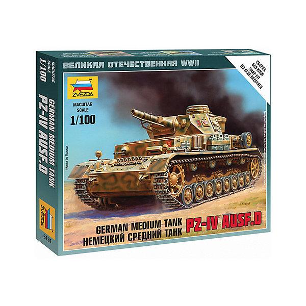 Сборная модель  Немецкий танк Т-IVВоенная техника и панорама<br>Характеристики:<br><br>• возраст: от 7 лет;<br>• материал: пластик;<br>• масштаб: 1:100;<br>• количество элементов: 8;<br>• клей и краски: не в комплекте;<br>• в наборе: танк, флаг отряда, карточка отряда;<br>• длина модели: 5,7 см;<br>• вес упаковки: 45 гр.;<br>• размер упаковки: 12х14,5х2 см;<br>• страна производитель: Россия.<br><br>Чтобы собрать модель Zvezda «Немецкий танк Т-IV» не понадобится клей. Элементы надежно скрепляются между собой. Каждая деталь легко и без повреждений отсоединяется от литника. Модель можно раскрасить по цветам из инструкции.<br><br>Сборка улучшает внимательность, мелкую моторику и пространственное мышление. Готовая фигурка является частью игровой системы Art of Tactic «Великая Отечественная», выглядит реалистично и отличается прочностью. Набор понравится не только игрокам, но и моделистам-коллекционерам. Набор выполнен из качественных безопасных материалов.<br><br>Сборную модель «Немецкий танк Т-IV» можно купить в нашем интернет-магазине.<br><br>Ширина мм: 120<br>Глубина мм: 145<br>Высота мм: 20<br>Вес г: 45<br>Возраст от месяцев: 84<br>Возраст до месяцев: 2147483647<br>Пол: Унисекс<br>Возраст: Детский<br>SKU: 7459668