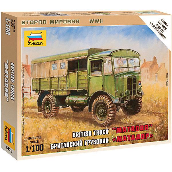 Сборная модель  Британский грузовик МатадорАвтомобили<br>Характеристики:<br><br>• возраст: от 7 лет;<br>• материал: пластик;<br>• масштаб: 1:100;<br>• количество элементов: 21;<br>• клей и краски: не в комплекте;<br>• в наборе: грузовик, флаг отряда, карточка отряда;<br>• длина модели: 6,1 см;<br>• вес упаковки: 50 гр.;<br>• размер упаковки: 12х14,5х2 см;<br>• страна производитель: Россия.<br><br>Чтобы собрать модель Zvezda «Британский грузовик Матадор» не понадобится клей. Элементы надежно скрепляются между собой. Каждая деталь легко и без повреждений отсоединяется от литника. Модель можно раскрасить по цветам из инструкции.<br><br>Сборка улучшает внимательность, мелкую моторику и пространственное мышление. Готовая фигурка является частью игровой системы Art of Tactic «Вторая Мировая», выглядит реалистично и отличается прочностью. Набор понравится не только игрокам, но и моделистам-коллекционерам. Набор выполнен из качественных безопасных материалов.<br><br>Сборную модель «Британский грузовик Матадор» можно купить в нашем интернет-магазине.<br>Ширина мм: 120; Глубина мм: 145; Высота мм: 20; Вес г: 50; Возраст от месяцев: 84; Возраст до месяцев: 2147483647; Пол: Унисекс; Возраст: Детский; SKU: 7459671;