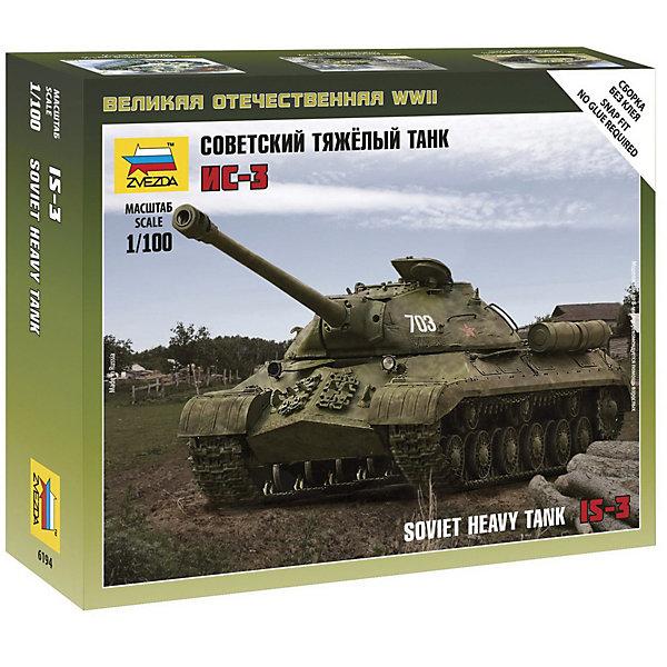 Сборная модель  Советский тяжёлый танк Ис-3Военная техника и панорама<br>Характеристики:<br><br>• возраст: от 7 лет;<br>• материал: пластик;<br>• масштаб: 1:100;<br>• количество элементов: 25;<br>• клей и краски: не в комплекте;<br>• в наборе: танк, флаг отряда;<br>• длина модели: 9,8 см;<br>• вес упаковки: 65 гр.;<br>• размер упаковки: 34,5х24,2х6 см;<br>• страна производитель: Россия.<br><br>Чтобы собрать модель Zvezda «Советский тяжёлый танк Ис-3» не понадобится клей. Элементы надежно скрепляются между собой. Каждая деталь легко и без повреждений отсоединяется от литника. Модель можно раскрасить по цветам из инструкции.<br><br>Сборка улучшает внимательность, мелкую моторику и пространственное мышление. Готовая фигурка является частью игровой системы Art of Tactic «Великая Отечественная», выглядит реалистично и отличается прочностью. Набор понравится не только игрокам, но и моделистам-коллекционерам. Набор выполнен из качественных безопасных материалов.<br><br>Сборную модель «Советский тяжёлый танк Ис-3» можно купить в нашем интернет-магазине.<br>Ширина мм: 345; Глубина мм: 242; Высота мм: 60; Вес г: 65; Возраст от месяцев: 84; Возраст до месяцев: 2147483647; Пол: Унисекс; Возраст: Детский; SKU: 7459672;