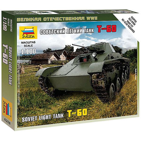Сборная модель  Сов.легкий танк Т-60Военная техника и панорама<br>Характеристики:<br><br>• возраст: от 7 лет;<br>• материал: пластик;<br>• масштаб: 1:100;<br>• количество элементов: 13;<br>• клей и краски: не в комплекте;<br>• в наборе: танк, флаг отряда, карточка отряда;<br>• длина модели: 4,1 см;<br>• вес упаковки: 35 гр.;<br>• размер упаковки: 12х14,5х2 см;<br>• страна производитель: Россия.<br><br>Чтобы собрать модель Zvezda «Советский легкий танк Т-60» не понадобится клей. Элементы надежно скрепляются между собой. Каждая деталь легко и без повреждений отсоединяется от литника. Модель можно раскрасить по цветам из инструкции.<br><br>Сборка улучшает внимательность, мелкую моторику и пространственное мышление. Готовая фигурка является частью игровой системы Art of Tactic «Великая Отечественная», выглядит реалистично и отличается прочностью. Набор понравится не только игрокам, но и моделистам-коллекционерам. Набор выполнен из качественных безопасных материалов.<br><br>Сборную модель «Советский легкий танк Т-60» можно купить в нашем интернет-магазине.<br>Ширина мм: 145; Глубина мм: 120; Высота мм: 20; Вес г: 35; Возраст от месяцев: 84; Возраст до месяцев: 2147483647; Пол: Унисекс; Возраст: Детский; SKU: 7459674;