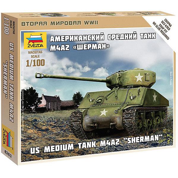 Сборная модель  Американский средний танк Шерман М4А2Военная техника и панорама<br>Характеристики:<br><br>• возраст: от 7 лет;<br>• материал: пластик;<br>• масштаб: 1:100;<br>• количество элементов: 19;<br>• клей и краски: не в комплекте;<br>• в наборе: танк, флаг отряда;<br>• длина модели: 7,1 см;<br>• вес упаковки: 50 гр.;<br>• размер упаковки: 12х14,5х2 см;<br>• страна производитель: Россия.<br><br>Чтобы собрать модель Zvezda «Американский средний танк Шерман М4А2» не понадобится клей. Элементы надежно скрепляются между собой. Каждая деталь легко и без повреждений отсоединяется от литника. Модель можно раскрасить по цветам из инструкции.<br><br>Сборка улучшает внимательность, мелкую моторику и пространственное мышление. Готовая фигурка является частью игровой системы Art of Tactic «Вторая Мировая», выглядит реалистично и отличается прочностью. Набор понравится не только игрокам, но и моделистам-коллекционерам. Набор выполнен из качественных безопасных материалов.<br><br>Сборную модель «Американский средний танк Шерман М4А2» можно купить в нашем интернет-магазине.<br>Ширина мм: 145; Глубина мм: 120; Высота мм: 20; Вес г: 50; Возраст от месяцев: 84; Возраст до месяцев: 2147483647; Пол: Унисекс; Возраст: Детский; SKU: 7459675;