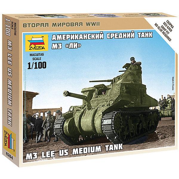 Сборная модель  Американский средний танк Ли М3Военная техника и панорама<br>Характеристики:<br><br>• возраст: от 7 лет;<br>• материал: пластик;<br>• масштаб: 1:100;<br>• количество элементов: 24;<br>• клей и краски: не в комплекте;<br>• в наборе: танк, флаг отряда;<br>• длина модели: 5,6 см;<br>• вес упаковки: 50 гр.;<br>• размер упаковки: 12х14,5х2 см;<br>• страна производитель: Россия.<br><br>Чтобы собрать модель Zvezda «Американский средний танк Ли М3» не понадобится клей. Элементы надежно скрепляются между собой. Каждая деталь легко и без повреждений отсоединяется от литника. Модель можно раскрасить по цветам из инструкции.<br><br>Сборка улучшает внимательность, мелкую моторику и пространственное мышление. Готовая фигурка является частью игровой системы Art of Tactic «Вторая Мировая», выглядит реалистично и отличается прочностью. Набор понравится не только игрокам, но и моделистам-коллекционерам. Набор выполнен из качественных безопасных материалов.<br><br>Сборную модель «Американский средний танк Ли М3» можно купить в нашем интернет-магазине.<br>Ширина мм: 145; Глубина мм: 120; Высота мм: 20; Вес г: 50; Возраст от месяцев: 84; Возраст до месяцев: 2147483647; Пол: Унисекс; Возраст: Детский; SKU: 7459676;