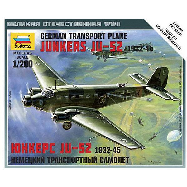 Сборная модель  Немецкий самолет Юнкерс Ю-52Военная техника и панорама<br>Характеристики:<br><br>• возраст: от 7 лет;<br>• материал: пластик;<br>• масштаб: 1:200;<br>• количество элементов: 17;<br>• клей и краски: не в комплекте;<br>• в наборе: самолет, подставка, карточка отряда, декаль;<br>• длина модели: 9,3 см;<br>• вес упаковки: 55 гр.;<br>• размер упаковки: 12х14,5х2 см;<br>• страна производитель: Россия.<br><br>Чтобы собрать модель Zvezda «Немецкий самолет Юнкерс Ю-52» не понадобится клей. Элементы надежно скрепляются между собой. Каждая деталь легко и без повреждений отсоединяется от литника. Модель можно раскрасить по цветам из инструкции.<br><br>Сборка улучшает внимательность, мелкую моторику и пространственное мышление. Готовая фигурка является частью игровой системы Art of Tactic «Великая Отечественная», выглядит реалистично и отличается прочностью. Набор понравится не только игрокам, но и моделистам-коллекционерам. Набор выполнен из качественных безопасных материалов.<br><br>Сборную модель «Немецкий самолет Юнкерс Ю-52» можно купить в нашем интернет-магазине.<br>Ширина мм: 120; Глубина мм: 145; Высота мм: 20; Вес г: 55; Возраст от месяцев: 84; Возраст до месяцев: 2147483647; Пол: Унисекс; Возраст: Детский; SKU: 7459685;