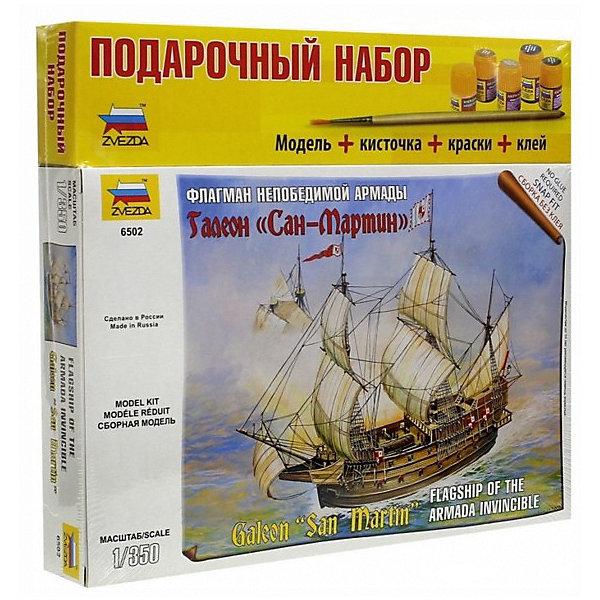 Сборная модель  Галеон Сан МартинКорабли и подводные лодки<br>Характеристики:<br><br>• возраст: от 10 лет;<br>• материал: пластик;<br>• масштаб: 1:350;<br>• количество элементов: 53;<br>• клей и краски: не в комплекте;<br>• длина модели: 15,8 см;<br>• вес упаковки: 260 гр.;<br>• размер упаковки: 34х20,5х35 см;<br>• страна производитель: Россия.<br><br>Модель Zvezda «Галеон Сан Мартин» входит в серию наборов игровой системы The Ships, но также понравится моделистам-коллекционерам. Для ее сборки не понадобится клей. Элементы надежно скрепляются между собой. Каждая деталь легко и без повреждений отсоединяется от литника. Модель можно раскрасить по цветам из инструкции.<br><br>Сборка улучшает внимательность, мелкую моторику и пространственное мышление. Готовая модель выглядят реалистично. Предусматривается 2 вида подставок: для игры и демонстрации. Набор выполнен из качественных безопасных материалов.<br><br>Сборную модель «Галеон Сан Мартин» можно купить в нашем интернет-магазине.<br>Ширина мм: 304; Глубина мм: 205; Высота мм: 350; Вес г: 260; Возраст от месяцев: 84; Возраст до месяцев: 2147483647; Пол: Унисекс; Возраст: Детский; SKU: 7459702;