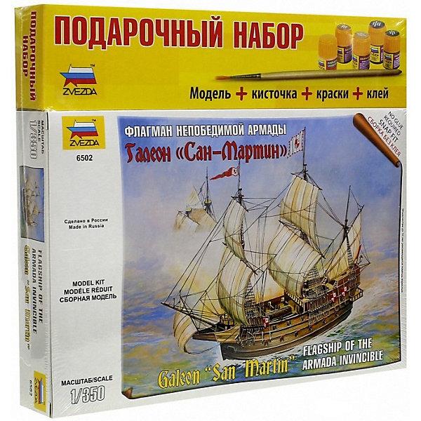 Сборная модель  Испанский корабль Сан-МартинКорабли и подводные лодки<br>Характеристики:<br><br>• возраст: от 10 лет;<br>• материал: пластик;<br>• масштаб: 1:350;<br>• количество элементов: 53;<br>• клей, краски, кисточка: в комплекте;<br>• длина модели: 15,8 см;<br>• вес упаковки: 490 гр.;<br>• размер упаковки: 30,6х27,6х5 см;<br>• страна производитель: Россия.<br><br>Модель Zvezda «Испанский корабль Сан-Мартин» входит в серию наборов игровой системы The Ships, но также понравится моделистам-коллекционерам. Подарочный набор включает все, чтобы собрать и раскрасить великолепный корабль. Каждая деталь легко и без повреждений отсоединяется от литника.<br><br>Сборка улучшает внимательность, мелкую моторику и пространственное мышление. Готовая модель выглядят реалистично, имеет высокую степень детализации. Предусматривается 2 вида подставок: для игры и демонстрации. Набор выполнен из качественных безопасных материалов.<br><br>Сборную модель «Испанский корабль Сан-Мартин» можно купить в нашем интернет-магазине.<br>Ширина мм: 306; Глубина мм: 276; Высота мм: 50; Вес г: 490; Возраст от месяцев: 84; Возраст до месяцев: 2147483647; Пол: Унисекс; Возраст: Детский; SKU: 7459706;