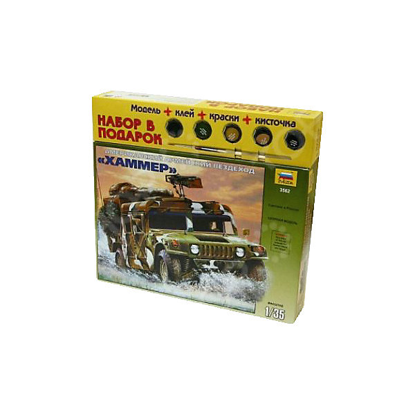 Сборная модель  Американский военный автомобиль.Военная техника и панорама<br>Характеристики:<br><br>• возраст: от 10 лет;<br>• материал: пластик;<br>• масштаб: 1:35;<br>• клей и краски: не в комплекте;<br>• длина модели: 13 см;<br>• вес упаковки: 230 гр.;<br>• размер упаковки: 24,2х34,5х6 см;<br>• страна производитель: Россия.<br><br>Модель для сборки Zvezda «Американский военный автомобиль» изображает детальную копию армейского вездехода. Каждый элемент легко и без повреждений отсоединяется от литника. Модель можно раскрасить по цветам из инструкции.<br><br>Сборка улучшает внимательность, мелкую моторику и пространственное мышление. Готовая модель выглядит реалистично и станет достойной частью коллекции. Набор выполнен из качественных безопасных материалов.<br><br>Сборную модель «Американский военный автомобиль» можно купить в нашем интернет-магазине.<br>Ширина мм: 242; Глубина мм: 345; Высота мм: 60; Вес г: 230; Возраст от месяцев: 84; Возраст до месяцев: 2147483647; Пол: Унисекс; Возраст: Детский; SKU: 7459730;