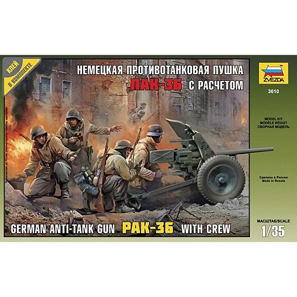 Сборная модель  Немецкая пушка ПАК-36Военная техника и панорама<br>Характеристики товара: <br><br>• возраст: от 8 лет;<br>• материал: пластик;<br>• в комплекте: 142 детали для сборки;<br>• масштаб: 1:35;<br>• размер собранной модели: 14 см;<br>• размер упаковки: 25,6х16,5х3,6 см;<br>• вес упаковки: 130 гр.;<br>• страна бренда: Россия.<br><br>Сборная модель Звезда «Немецкая пушка ПАК-36» позволит собрать копию немецкой противотанковой пушки и фигурки солдат.<br><br>Сборные модели от компании Звезда отличаются высокой степенью детализации и позволяют собирать модели многих популярных видов военной техники. В процессе сборки ребенок расширяет свой кругозор, знакомится с видами техники и историческими фактами, развивает усидчивость, внимательность, аккуратность.<br><br>Сборную модель Звезда «Немецкая пушка ПАК-36» можно приобрести в нашем интернет-магазине.<br>Ширина мм: 162; Глубина мм: 258; Высота мм: 38; Вес г: 130; Возраст от месяцев: 84; Возраст до месяцев: 2147483647; Пол: Унисекс; Возраст: Детский; SKU: 7459752;