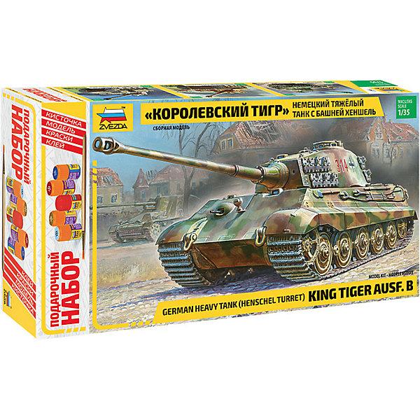 Сборная модель  Немецкий танк Королевский Тигр с башней ХеншельВоенная техника и панорама<br>Характеристики:<br><br>• возраст: от 10 лет;<br>• материал: пластик;<br>• масштаб: 1:35;<br>• количество элементов: 423;<br>• декаль: да;<br>• клей, краски, кисточка: в комплекте;<br>• длина модели: 29,5 см;<br>• вес упаковки: 1 кг.;<br>• размер упаковки: 48,7х34,7х8,5 см;<br>• страна производитель: Россия.<br><br>Модель для сборки Zvezda «Немецкий танк Королевский Тигр с башней Хеншель» детально изображает одноименную военную технику Второй мировой. Каждый элемент легко и без повреждений отсоединяется от литника. В подарочном наборе есть все необходимое, чтобы создать завершенный образ танка.<br><br>Сборка улучшает внимательность, мелкую моторику и пространственное мышление. Понятная поэтапная инструкция поможет собрать точную копию прототипа.<br><br>Готовая модель выглядит реалистично, подходит для тематических игр и станет достойной частью коллекции. Набор выполнен из качественных материалов, соответствующих стандартам безопасности.<br><br>Сборную модель «Немецкий танк Королевский Тигр с башней Хеншель» можно купить в нашем интернет-магазине.<br>Ширина мм: 487; Глубина мм: 347; Высота мм: 85; Вес г: 1000; Возраст от месяцев: 84; Возраст до месяцев: 2147483647; Пол: Унисекс; Возраст: Детский; SKU: 7459775;