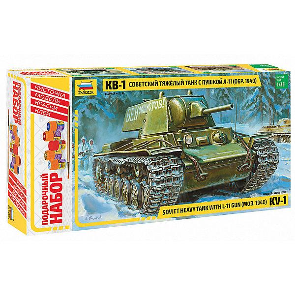 Сборная модель  Советский танк КВ-1 мод. 1940г.Военная техника и панорама<br>Характеристики:<br><br>• возраст: от 10 лет;<br>• материал: пластик;<br>• масштаб: 1:35;<br>• количество элементов: 243;<br>• клей, краски, кисточка: в комплекте;<br>• длина модели: 19 см;<br>• вес упаковки: 670 гр.;<br>• размер упаковки: 47х24,5х7 см;<br>• страна производитель: Россия.<br><br>Модель для сборки Zvezda «Советский танк КВ-1 мод. 1940 г.» детально изображает одноименную военную технику. Каждый элемент легко и без повреждений отсоединяется от литника. В подарочном наборе есть все необходимое, чтобы создать завершенный образ танка.<br><br>Сборка улучшает внимательность, мелкую моторику и пространственное мышление. Понятная поэтапная инструкция поможет собрать точную копию прототипа.<br><br>Готовая модель выглядит реалистично, подходит для тематических игр и станет достойной частью коллекции. Набор выполнен из качественных материалов, соответствующих стандартам безопасности.<br><br>Сборную модель «Советский танк КВ-1 мод. 1940 г.» можно купить в нашем интернет-магазине.<br>Ширина мм: 470; Глубина мм: 245; Высота мм: 70; Вес г: 670; Возраст от месяцев: 84; Возраст до месяцев: 2147483647; Пол: Унисекс; Возраст: Детский; SKU: 7459777;