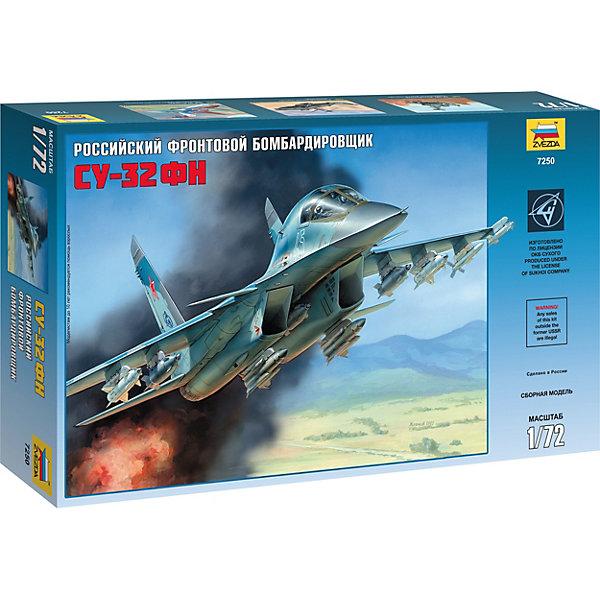 Сборная модель  Самолет Су-32ФНСамолеты и вертолеты<br>Характеристики товара: <br><br>• возраст: от 8 лет;<br>• материал: пластик;<br>• в комплекте: детали для сборки, кисточка, краски, клей;<br>• масштаб: 1:72;<br>• размер собранной модели: 28 см;<br>• размер упаковки: 34х24х6 см;<br>• вес упаковки: 330 гр.;<br>• страна бренда: Россия.<br><br>Сборная модель Звезда «Самолет Су-32ФН» позволит собрать уменьшенную копию российского бомбардировщика с комплектом ракет для поражения воздушных и наземных целей, а также с бомбами.<br><br>Сборные модели от компании Звезда отличаются высокой степенью детализации и позволяют собирать модели многих популярных видов военной техники. В процессе сборки ребенок расширяет свой кругозор, знакомится с видами техники и историческими фактами, развивает усидчивость, внимательность, аккуратность.<br><br>Сборную модель Звезда «Самолет Су-32ФН» можно приобрести в нашем интернет-магазине.<br>Ширина мм: 315; Глубина мм: 348; Высота мм: 60; Вес г: 730; Возраст от месяцев: 84; Возраст до месяцев: 2147483647; Пол: Унисекс; Возраст: Детский; SKU: 7459804;