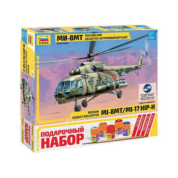 Сборная модель  Вертолет Ми-8МТВоенная техника и панорама<br>Характеристики товара: <br><br>• возраст: от 8 лет;<br>• материал: пластик;<br>• в комплекте: детали для сборки, кисточка, краски, клей;<br>• масштаб: 1:72;<br>• размер собранной модели: 25 см;<br>• размер упаковки: 30,5х27,5х5,5 см;<br>• вес упаковки: 622 гр.;<br>• страна бренда: Россия.<br><br>Сборная модель Звезда «Вертолет Ми-8МТ» позволит собрать уменьшенную копию боевого советского вертолета Ми-8МТ, разработанного в 60-х годах.<br><br>Сборные модели от компании Звезда отличаются высокой степенью детализации и позволяют собирать модели многих популярных видов военной техники. В процессе сборки ребенок расширяет свой кругозор, знакомится с видами техники и историческими фактами, развивает усидчивость, внимательность, аккуратность.<br><br>Сборную модель Звезда «Вертолет Ми-8МТ» можно приобрести в нашем интернет-магазине.<br>Ширина мм: 276; Глубина мм: 306; Высота мм: 50; Вес г: 615; Возраст от месяцев: 84; Возраст до месяцев: 2147483647; Пол: Унисекс; Возраст: Детский; SKU: 7459805;