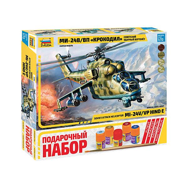 Сборная модель  Вертолет Ми-24 В/ВП КрокодилВоенная техника и панорама<br>Характеристики товара: <br><br>• возраст: от 8 лет;<br>• материал: пластик;<br>• в комплекте: 270 деталей для сборки, кисточка, краски, клей;<br>• масштаб: 1:72;<br>• размер собранной модели: 29 см;<br>• размер упаковки: 34,5х34,5х6 см;<br>• вес упаковки: 400 гр.;<br>• страна бренда: Россия.<br><br>Сборная модель Звезда «Вертолет Ми-24 В/ВП Крокодил» позволит собрать уменьшенную копию боевого вертолета Ми-24, воевавшего в Афганистане, поставляющегося на экспорт во многие страны мира. В настоящее время они составляют основу армейской авиации России.<br><br>Сборные модели от компании Звезда отличаются высокой степенью детализации и позволяют собирать модели многих популярных видов военной техники. В процессе сборки ребенок расширяет свой кругозор, знакомится с видами техники и историческими фактами, развивает усидчивость, внимательность, аккуратность.<br><br>Сборную модель Звезда «Вертолет Ми-24 В/ВП Крокодил» можно приобрести в нашем интернет-магазине.<br>Ширина мм: 306; Глубина мм: 276; Высота мм: 50; Вес г: 640; Возраст от месяцев: 84; Возраст до месяцев: 2147483647; Пол: Унисекс; Возраст: Детский; SKU: 7459812;