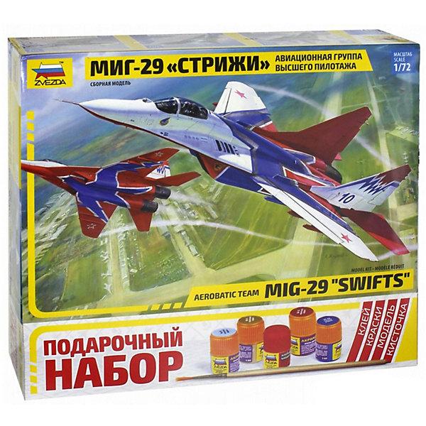 Сборная модель Самолет МиГ-29 авиагруппа СтрижиСамолеты и вертолеты<br>Характеристики:<br><br>• возраст: от 10 лет;<br>• материал: пластик;<br>• масштаб: 1:72;<br>• количество элементов: 190;<br>• клей, краски, кисточка: в комплекте;<br>• длина модели: 24 см;<br>• вес упаковки: 670 гр.;<br>• размер упаковки: 47,5х23х6,5 см;<br>• страна производитель: Россия.<br><br>Модель для сборки Zvezda «Самолет МиГ-29 авиагруппа Стрижи» детально изображает легендарный одноименный российский истребитель. Каждый элемент легко и без повреждений отсоединяется от литника. В подарочном наборе есть все необходимое, чтобы создать завершенный образ самолета.<br><br>Сборка улучшает внимательность, мелкую моторику и пространственное мышление. Понятная поэтапная инструкция поможет собрать точную копию прототипа.<br><br>Готовая модель выглядит максимально реалистично, подходит для тематических игр и станет достойной частью коллекции. Набор выполнен из качественных материалов, соответствующих стандартам безопасности.<br><br>Сборную модель «Самолет МиГ-29 авиагруппа Стрижи» можно купить в нашем интернет-магазине.<br>Ширина мм: 475; Глубина мм: 230; Высота мм: 65; Вес г: 670; Возраст от месяцев: 84; Возраст до месяцев: 2147483647; Пол: Унисекс; Возраст: Детский; SKU: 7459815;