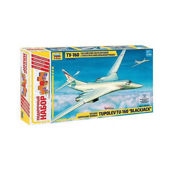 Сборная модель  Самолет Ту-160Самолеты и вертолеты<br>Характеристики:<br><br>• возраст: от 10 лет;<br>• материал: пластик;<br>• масштаб: 1:144;<br>• клей, краски, кисточка: в комплекте;<br>• длина модели: 37 см;<br>• вес упаковки: 770 гр.;<br>• размер упаковки: 24,5х47х7 см;<br>• страна производитель: Россия.<br><br>Модель для сборки Zvezda «Самолет Ту-160» детально изображает одноименный российский сверхзвуковой стратегический бомбардировщик. Каждый элемент легко и без повреждений отсоединяется от литника. В подарочном наборе есть все необходимое, чтобы создать завершенный образ самолета.<br><br>Сборка улучшает внимательность, мелкую моторику и пространственное мышление. Понятная поэтапная инструкция поможет собрать точную копию прототипа.<br><br>Готовая модель выглядит максимально реалистично, подходит для тематических игр и станет достойной частью коллекции. Набор выполнен из качественных материалов, соответствующих стандартам безопасности.<br><br>Сборную модель «Самолет Ту-160» можно купить в нашем интернет-магазине.<br>Ширина мм: 245; Глубина мм: 470; Высота мм: 70; Вес г: 770; Возраст от месяцев: 84; Возраст до месяцев: 2147483647; Пол: Унисекс; Возраст: Детский; SKU: 7459816;