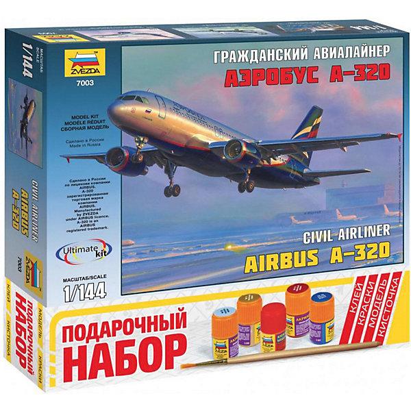 Сборная модель  Пасс. авиалайнер Аэробус А-320Самолеты и вертолеты<br>Характеристики:<br><br>• возраст: от 10 лет;<br>• материал: пластик;<br>• масштаб: 1:144;<br>• количество элементов: 140;<br>• клей, краски, кисточка: в комплекте;<br>• длина модели: 25,9 см;<br>• вес упаковки: 560 гр.;<br>• размер упаковки: 34,8х31,5х6 см;<br>• страна производитель: Россия.<br><br>Модель для сборки Zvezda «Пассажирский авиалайнер Аэробус А-320» детально изображает одноименный гражданский самолет. Каждый элемент легко и без повреждений отсоединяется от литника. В подарочном наборе есть все необходимое, чтобы создать завершенный образ самолета.<br><br>Сборка улучшает внимательность, мелкую моторику и пространственное мышление. Понятная поэтапная инструкция поможет собрать точную копию прототипа.<br><br>Готовая модель выглядит максимально реалистично, подходит для тематических игр и станет достойной частью коллекции. Набор выполнен из качественных материалов, соответствующих стандартам безопасности.<br><br>Сборную модель «Пассажирский авиалайнер Аэробус А-320» можно купить в нашем интернет-магазине.<br>Ширина мм: 348; Глубина мм: 315; Высота мм: 60; Вес г: 560; Возраст от месяцев: 84; Возраст до месяцев: 2147483647; Пол: Унисекс; Возраст: Детский; SKU: 7459817;