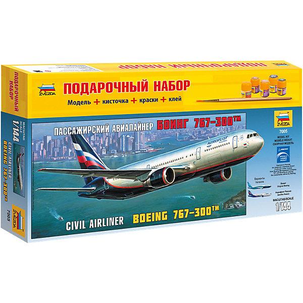 Сборная модель  Пасс. авиалайнер Боинг 767-300Самолеты и вертолеты<br>Характеристики:<br><br>• возраст: от 10 лет;<br>• материал: пластик;<br>• масштаб: 1:144;<br>• количество элементов: 72;<br>• клей, краски, кисточка: в комплекте;<br>• декаль: да;<br>• длина модели: 38 см;<br>• вес упаковки: 730 гр.;<br>• размер упаковки: 23х47,5х6,5 см;<br>• страна производитель: Россия.<br><br>Модель для сборки Zvezda «Пассажирский авиалайнер Боинг 767-300» детально изображает одноименный гражданский самолет. Каждый элемент легко и без повреждений отсоединяется от литника. В подарочном наборе есть все необходимое, чтобы создать завершенный образ самолета.<br><br>Сборка улучшает внимательность, мелкую моторику и пространственное мышление. Понятная поэтапная инструкция поможет собрать точную копию прототипа.<br><br>Готовая модель выглядит максимально реалистично, подходит для тематических игр и станет достойной частью коллекции. Набор выполнен из качественных материалов, соответствующих стандартам безопасности.<br><br>Сборную модель «Пассажирский авиалайнер Боинг 767-300» можно купить в нашем интернет-магазине.<br>Ширина мм: 230; Глубина мм: 475; Высота мм: 65; Вес г: 730; Возраст от месяцев: 84; Возраст до месяцев: 2147483647; Пол: Унисекс; Возраст: Детский; SKU: 7459818;