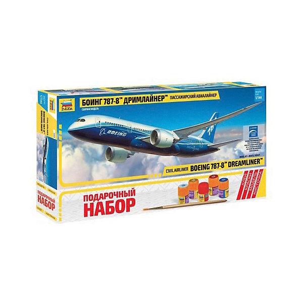 Сборная модель  Пасс. авиалайнер Боинг 787-8 ДримлайнерСамолеты и вертолеты<br>Характеристики:<br><br>• возраст: от 10 лет;<br>• материал: пластик;<br>• масштаб: 1:144;<br>• количество элементов: 72;<br>• клей, краски, кисточка: в комплекте;<br>• декаль: да;<br>• длина модели: 38 см;<br>• вес упаковки: 670 гр.;<br>• размер упаковки: 47,5х23х6,5 см;<br>• страна производитель: Россия.<br><br>Модель для сборки Zvezda «Пассажирский авиалайнер Боинг 787-8 Дримлайнер» детально изображает одноименный гражданский самолет. Каждый элемент легко и без повреждений отсоединяется от литника. В подарочном наборе есть все необходимое, чтобы создать завершенный образ самолета.<br><br>Сборка улучшает внимательность, мелкую моторику и пространственное мышление. Понятная поэтапная инструкция поможет собрать точную копию прототипа.<br><br>Готовая модель выглядит максимально реалистично, подходит для тематических игр и станет достойной частью коллекции. Набор выполнен из качественных материалов, соответствующих стандартам безопасности.<br><br>Сборную модель «Пассажирский авиалайнер Боинг 787-8 Дримлайнер» можно купить в нашем интернет-магазине.<br>Ширина мм: 475; Глубина мм: 230; Высота мм: 65; Вес г: 670; Возраст от месяцев: 84; Возраст до месяцев: 2147483647; Пол: Унисекс; Возраст: Детский; SKU: 7459819;