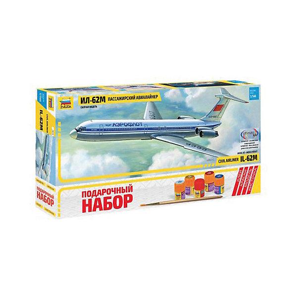 Сборная модель  Советский пассажирский авиалайнер Ил-62МСамолеты и вертолеты<br>Характеристики:<br><br>• возраст: от 10 лет;<br>• материал: пластик;<br>• масштаб: 1:144;<br>• количество элементов: 139;<br>• клей, краски, кисточка: в комплекте;<br>• декаль: да;<br>• длина модели: 38 см;<br>• вес упаковки: 670 гр.;<br>• размер упаковки: 47,5х23х6,5 см;<br>• страна производитель: Россия.<br><br>Модель для сборки Zvezda «Советский пассажирский авиалайнер Ил-62М» детально изображает одноименный реактивный гражданский самолет. Каждый элемент легко и без повреждений отсоединяется от литника. В подарочном наборе есть все необходимое, чтобы создать завершенный образ самолета.<br><br>Сборка улучшает внимательность, мелкую моторику и пространственное мышление. Понятная поэтапная инструкция поможет собрать точную копию прототипа.<br><br>Готовая модель выглядит максимально реалистично, подходит для тематических игр и станет достойной частью коллекции. Набор выполнен из качественных материалов, соответствующих стандартам безопасности.<br><br>Сборную модель «Советский пассажирский авиалайнер Ил-62М» можно купить в нашем интернет-магазине.<br><br>Ширина мм: 475<br>Глубина мм: 230<br>Высота мм: 65<br>Вес г: 670<br>Возраст от месяцев: 84<br>Возраст до месяцев: 2147483647<br>Пол: Унисекс<br>Возраст: Детский<br>SKU: 7459820