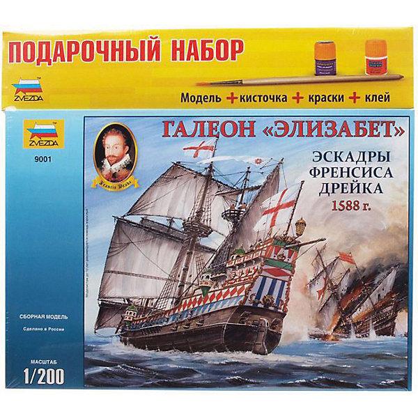 Сборная модель  Галеон ЭлизабетКорабли и подводные лодки<br>Характеристики:<br><br>• возраст: от 10 лет;<br>• материал: пластик;<br>• масштаб: 1:200;<br>• клей и краски: не в комплекте;<br>• вес упаковки: 400 гр.;<br>• размер упаковки: 24,2х34,5х6 см;<br>• страна производитель: Россия.<br><br>Модель для сборки Zvezda «Галеон Элизабет» детально изображает одноименное английское судно. Каждый элемент легко и без повреждений отсоединяется от литника. Модель можно раскрасить по цветам из инструкции.<br><br>Сборка улучшает внимательность, мелкую моторику и пространственное мышление. Понятная поэтапная инструкция поможет собрать точную копию прототипа.<br><br>Готовая модель выглядит максимально реалистично, подходит для тематических игр и станет достойной частью коллекции. Набор выполнен из качественных материалов, соответствующих стандартам безопасности.<br><br>Сборную модель «Галеон Элизабет» можно купить в нашем интернет-магазине.<br>Ширина мм: 242; Глубина мм: 345; Высота мм: 60; Вес г: 400; Возраст от месяцев: 84; Возраст до месяцев: 2147483647; Пол: Унисекс; Возраст: Детский; SKU: 7459824;
