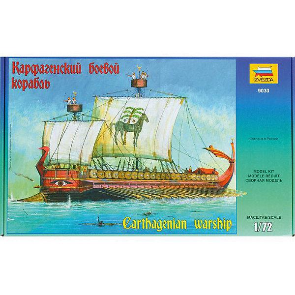 Сборная модель  Карфагенский боевой корабльКорабли и подводные лодки<br>Характеристики:<br><br>• возраст: от 10 лет;<br>• материал: пластик;<br>• масштаб: 1:72;<br>• клей и краски: не в комплекте;<br>• декаль: да;<br>• длина модели: 49 см;<br>• вес упаковки: 890 гр.;<br>• размер упаковки: 30,7х48,7х8,5 см;<br>• страна производитель: Россия.<br><br>Модель для сборки Zvezda «Карфагенский боевой корабль» детально изображает одноименный прототип. Каждый элемент легко и без повреждений отсоединяется от литника. Модель можно раскрасить по цветам из инструкции.<br><br>Сборка улучшает внимательность, мелкую моторику и пространственное мышление. Понятная поэтапная инструкция поможет собрать точную копию судна.<br><br>Готовая модель выглядит максимально реалистично, подходит для тематических игр и станет достойной частью коллекции. Набор выполнен из качественных материалов, соответствующих стандартам безопасности.<br><br>Сборную модель «Карфагенский боевой корабль» можно купить в нашем интернет-магазине.<br>Ширина мм: 307; Глубина мм: 487; Высота мм: 85; Вес г: 890; Возраст от месяцев: 84; Возраст до месяцев: 2147483647; Пол: Унисекс; Возраст: Детский; SKU: 7459834;