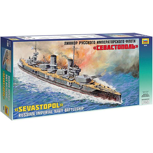 Сборная модель  Линкор русского императ.флота СевастопольКорабли и подводные лодки<br>Характеристики:<br><br>• возраст: от 10 лет;<br>• материал: пластик;<br>• масштаб: 1:350;<br>• количество элементов: 432;<br>• клей и краски: не в комплекте;<br>• длина модели: 52 см;<br>• вес упаковки: 750 гр.;<br>• размер упаковки: 31х61,5х7,4 см;<br>• страна производитель: Россия.<br><br>Модель для сборки Zvezda «Линкор русского императорского флота Севастополь» детально изображает легендарный прототип. Каждый элемент легко и без повреждений отсоединяется от литника. Модель можно раскрасить по цветам из инструкции.<br><br>Сборка улучшает внимательность, мелкую моторику и пространственное мышление. Понятная поэтапная инструкция поможет собрать точную копию судна.<br><br>Готовая модель выглядит максимально реалистично, подходит для тематических игр и станет достойной частью коллекции. Набор выполнен из качественных материалов, соответствующих стандартам безопасности.<br><br>Сборную модель «Линкор русского императорского флота Севастополь» можно купить в нашем интернет-магазине.<br>Ширина мм: 310; Глубина мм: 615; Высота мм: 74; Вес г: 750; Возраст от месяцев: 84; Возраст до месяцев: 2147483647; Пол: Унисекс; Возраст: Детский; SKU: 7459836;