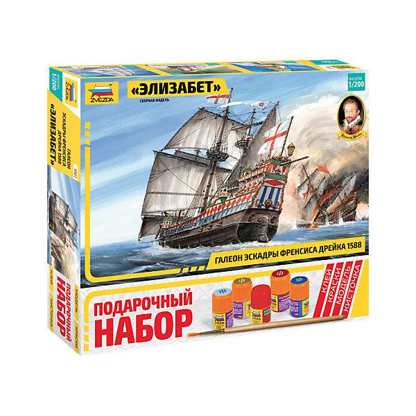 Сборная модель  Галеон ЭлизабетКорабли и подводные лодки<br>Характеристики:<br><br>• возраст: от 10 лет;<br>• материал: пластик;<br>• масштаб: 1:200;<br>• клей, краски, кисточка: в комплекте;<br>• вес упаковки: 850 гр.;<br>• размер упаковки: 31,5х34,8х6 см;<br>• страна производитель: Россия.<br><br>Модель для сборки Zvezda «Галеон Элизабет» детально изображает одноименный корабль. Каждый элемент легко и без повреждений отсоединяется от литника. В подарочном наборе есть все необходимое, чтобы создать завершенный образ судна.<br><br>Сборка улучшает внимательность, мелкую моторику и пространственное мышление. Понятная поэтапная инструкция поможет собрать точную копию прототипа.<br><br>Готовая модель выглядит максимально реалистично, подходит для тематических игр и станет достойной частью коллекции. Набор выполнен из качественных материалов, соответствующих стандартам безопасности.<br><br>Сборную модель «Галеон Элизабет» можно купить в нашем интернет-магазине.<br>Ширина мм: 315; Глубина мм: 348; Высота мм: 60; Вес г: 850; Возраст от месяцев: 84; Возраст до месяцев: 2147483647; Пол: Унисекс; Возраст: Детский; SKU: 7459841;