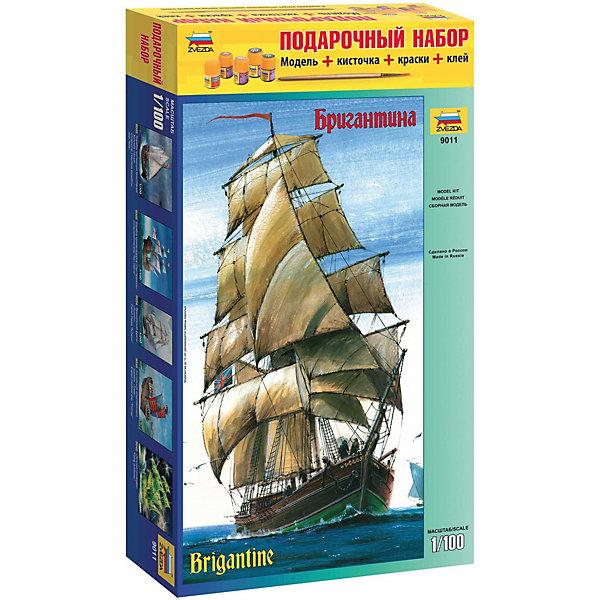 Сборная модель  БригантинаКорабли и подводные лодки<br>Характеристики:<br><br>• возраст: от 10 лет;<br>• материал: пластик;<br>• масштаб: 1:100;<br>• клей, краски, кисточка: в комплекте;<br>• вес упаковки: 1,27 кг.;<br>• размер упаковки: 34,7х48,7х8,5 см;<br>• страна производитель: Россия.<br><br>Модель для сборки Zvezda «Бригантина» детально изображает одноименное пиратское судно. Каждый элемент легко и без повреждений отсоединяется от литника. В подарочном наборе есть все необходимое, чтобы создать завершенный образ корабля.<br><br>Сборка улучшает внимательность, мелкую моторику и пространственное мышление. Понятная поэтапная инструкция поможет собрать точную копию прототипа.<br><br>Готовая модель выглядит максимально реалистично, подходит для тематических игр и станет достойной частью коллекции. Набор выполнен из качественных материалов, соответствующих стандартам безопасности.<br><br>Сборную модель «Бригантина» можно купить в нашем интернет-магазине.<br>Ширина мм: 347; Глубина мм: 487; Высота мм: 85; Вес г: 1270; Возраст от месяцев: 84; Возраст до месяцев: 2147483647; Пол: Унисекс; Возраст: Детский; SKU: 7459844;