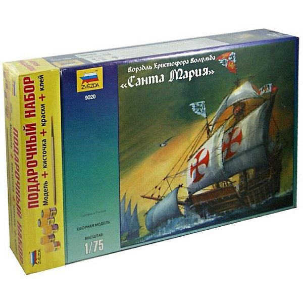 Сборная модель  Корабль Санта МарияКорабли и подводные лодки<br>Характеристики:<br><br>• возраст: от 10 лет;<br>• материал: пластик;<br>• количество элементов: 153;<br>• масштаб: 1:75;<br>• клей, краски, кисточка: в комплекте;<br>• длина модели: 30,6 см;<br>• вес упаковки: 1,12 кг.;<br>• размер упаковки: 34,7х48,7х8,5 см;<br>• страна производитель: Россия.<br><br>Модель для сборки Zvezda «Корабль Санта Мария» детально изображает одноименный экспедиционный парусник под командованием Христофора Колумба. Каждый элемент легко и без повреждений отсоединяется от литника. В подарочном наборе есть все необходимое, чтобы создать завершенный образ судна.<br><br>Сборка улучшает внимательность, мелкую моторику и пространственное мышление. Понятная поэтапная инструкция поможет собрать точную копию прототипа.<br><br>Готовая модель выглядит максимально реалистично, подходит для тематических игр и станет достойной частью коллекции. Набор выполнен из качественных материалов, соответствующих стандартам безопасности.<br><br>Сборную модель «Корабль Санта Мария» можно купить в нашем интернет-магазине.<br>Ширина мм: 347; Глубина мм: 487; Высота мм: 85; Вес г: 1125; Возраст от месяцев: 84; Возраст до месяцев: 2147483647; Пол: Унисекс; Возраст: Детский; SKU: 7459846;