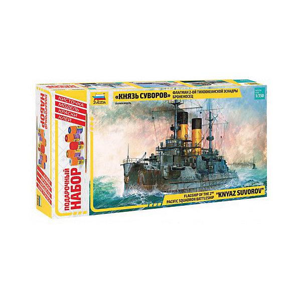 Сборная модель  Броненосец Князь СуворовКорабли и подводные лодки<br>Характеристики:<br><br>• возраст: от 10 лет;<br>• материал: пластик;<br>• масштаб: 1:350;<br>• клей, краски, кисточка: в комплекте;<br>• декаль: да;<br>• длина модели: 34 см;<br>• вес упаковки: 890 гр.;<br>• размер упаковки: 24,5х47х7 см;<br>• страна производитель: Россия.<br><br>Модель для сборки Zvezda «Броненосец Князь Суворов» детально изображает одноименный флагман 2-й тихоокеанской эскадры. Каждый элемент легко и без повреждений отсоединяется от литника. В подарочном наборе есть все необходимое, чтобы создать завершенный образ судна.<br><br>Сборка улучшает внимательность, мелкую моторику и пространственное мышление. Понятная поэтапная инструкция поможет собрать точную копию.<br><br>Готовая модель выглядит максимально реалистично, подходит для тематических игр и станет достойной частью коллекции. Набор выполнен из качественных материалов, соответствующих стандартам безопасности.<br><br>Сборную модель «Броненосец Князь Суворов» можно купить в нашем интернет-магазине.<br>Ширина мм: 245; Глубина мм: 470; Высота мм: 70; Вес г: 890; Возраст от месяцев: 84; Возраст до месяцев: 2147483647; Пол: Унисекс; Возраст: Детский; SKU: 7459847;
