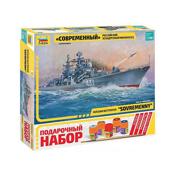 Сборная модель  Российский эсминец СовременныйКорабли и подводные лодки<br>Характеристики:<br><br>• возраст: от 10 лет;<br>• материал: пластик;<br>• масштаб: 1:700;<br>• количество элементов: 144;<br>• клей, краски, кисточка: в комплекте;<br>• длина модели: 23 см;<br>• вес упаковки: 175 гр.;<br>• размер упаковки: 30,6х27,6х5 см;<br>• страна производитель: Россия.<br><br>Модель для сборки Zvezda «Российский эсминец Современный» детально изображает российский эскадренный миноносец. Каждый элемент легко и без повреждений отсоединяется от литника. В подарочном наборе есть все необходимое, чтобы создать завершенный образ корабля.<br><br>Сборка улучшает внимательность, мелкую моторику и пространственное мышление. Понятная поэтапная инструкция поможет собрать точную копию судна.<br><br>Готовая модель выглядит максимально реалистично, подходит для тематических игр и станет достойной частью коллекции. Набор выполнен из качественных материалов, соответствующих стандартам безопасности.<br><br>Сборную модель «Российский эсминец Современный» можно купить в нашем интернет-магазине.<br>Ширина мм: 306; Глубина мм: 276; Высота мм: 50; Вес г: 175; Возраст от месяцев: 84; Возраст до месяцев: 2147483647; Пол: Унисекс; Возраст: Детский; SKU: 7459849;