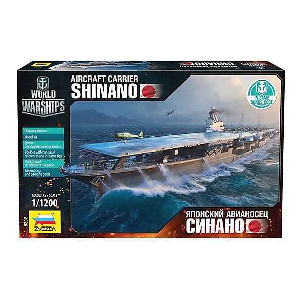 Сборная модель Авианосец СинаноКорабли и подводные лодки<br>Характеристики:<br><br>• возраст: от 10 лет;<br>• материал: пластик;<br>• масштаб: 1:1200;<br>• количество элементов: 24;<br>• клей и краски: не в комплекте;<br>• длина модели: 21,9 см;<br>• вес упаковки: 240 гр.;<br>• размер упаковки: 16,2х25,8х3,8 см;<br>• страна производитель: Россия.<br><br>Модель для сборки Zvezda «Авианосец Синано» детально изображает прототип. Каждый элемент легко и без повреждений отсоединяется от литника. Модель можно раскрасить по цветам из инструкции.<br><br>Сборка улучшает внимательность, мелкую моторику и пространственное мышление. Понятная поэтапная инструкция поможет собрать точную копию судна. В комплекте буклет с историческим описанием.<br><br>Готовая модель выглядит максимально реалистично, подходит для тематических игр и станет достойной частью коллекции. Набор выполнен из качественных материалов, соответствующих стандартам безопасности.<br><br>Сборную модель «Авианосец Синано» можно купить в нашем интернет-магазине.<br>Ширина мм: 162; Глубина мм: 258; Высота мм: 38; Вес г: 240; Возраст от месяцев: 84; Возраст до месяцев: 2147483647; Пол: Унисекс; Возраст: Детский; SKU: 7459850;