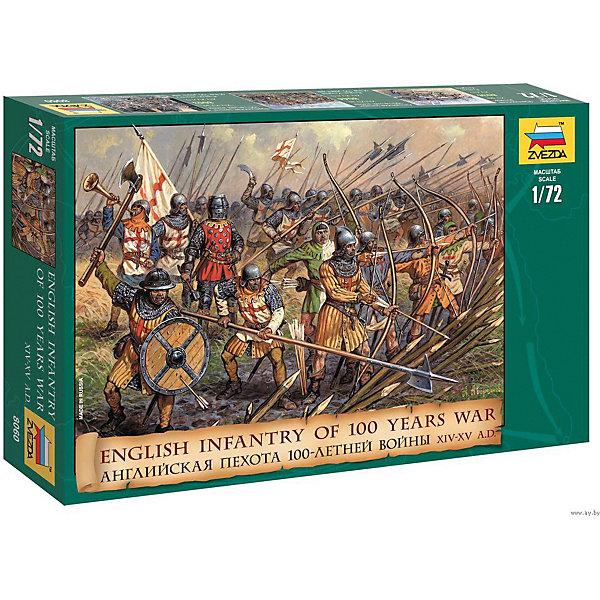 Сборная модель  Английская пехота 100-летней войныВоенная техника и панорама<br>Характеристики:<br><br>• возраст: от 10 лет;<br>• материал: пластик;<br>• масштаб: 1:72;<br>• в наборе: 45 фигур;<br>• вес упаковки: 145 гр.;<br>• размер упаковки: 16,2х25,8х3,8 см;<br>• страна производитель: Россия.<br><br>Модель для сборки Zvezda «Английская пехота 100-летней войны» детально изображает военно-исторические миниатюры. Каждый элемент легко и без повреждений отсоединяется от литника. Фигуры можно раскрасить по цветам из инструкции.<br><br>Сборка улучшает внимательность, мелкую моторику и пространственное мышление. Готовые модели выглядят реалистично. Набор выполнен из качественных материалов, соответствующих стандартам безопасности.<br><br>Сборную модель «Английская пехота 100-летней войны» можно купить в нашем интернет-магазине.<br>Ширина мм: 162; Глубина мм: 258; Высота мм: 38; Вес г: 145; Возраст от месяцев: 84; Возраст до месяцев: 2147483647; Пол: Унисекс; Возраст: Детский; SKU: 7459877;
