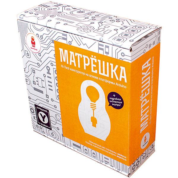 Электронный конструктор Амперка Матрешка Y (Iskra)Робототехника и электроника<br>Характеристики товара:<br><br>• возраст: от 14 лет;<br>• размер упаковки: 18х7х19 см;<br>• вес упаковки: 611 гр.;<br>• страна производитель: Россия.<br><br>В комплекте: <br>• платформа Iskra Neo; <br>• брошюра «Конспект хакера»; <br>• резисторы; <br>• пременный резистор (потенциометр); <br>• фоторезистор; <br>• термистор; <br>• конденсаторы керамические; <br>• конденсаторы электролитические на 220 мкФ; <br>• транзисторы биполярные; <br>• транзистор полевой MOSFET; <br>• диоды выпрямительные; <br>• светодиоды 5 мм; <br>• трехцветный светодиод; <br>• 7-сегментный индикатор; <br>• кнопка тактовая; <br>• пьезо-пищалка; <br>• выходной сдвиговый регистр 74HC595; <br>• инвертирующий Триггер Шмитта; <br>• клеммник нажимной; <br>• соединительные провода «папа-папа»; <br>• кабель USB тип A — Micro USB; <br>• кабель питания от батарейки Крона; <br>• штырьковые соединители (1?40); <br>• монтажная площадка для Iskra Neo.<br><br>Электронный конструктор Амперка Матрешка Y (Iskra) откроет перед Вами новые горизонты радиотехники и электроники.<br><br>Грамотно используя составляющие детали из предлагающегося комплекта, можно довольно быстро собрать интересные устройства, описание которых подробно описано в брошюре Конспект хакера . Теперь для юного радиомоделиста доступна сборка целых двадцати приборов и приспособлений! Правильно разместив на монтажной плате сенсоры или резисторы, запустив в дело диоды и светодиоды, Вы станете одним из немногих мастеров своего дела.<br><br>Вы соберете: маячок; маячок с нарастающей яркостью; светильник с управляемой яркостью; терменвокс; ночной светильник; пульсар; бегущий огонёк; пианино; миксер; кнопочный переключатель; светильник с кнопочным управлением; кнопочные ковбои; секундомер; счётчик нажатий; комнатный термометр; метеостанция; пантограф<br><br>Электронный конструктор Амперка Матрешка Y (Iskra) можно купить в нашем интернет-магазине.<br>Ширина мм: 190; Глубина м