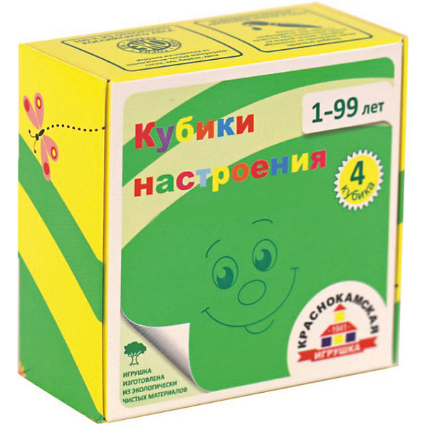 Деревянные кубики Краснокамская игрушка НастроенияРазвивающие игрушки<br>Характеристики товара:<br><br>• возраст: от 1 года;<br>• из чего сделана игрушка (состав): дерево;<br>• комплект: 4 кубика;<br>• размер 1 кубика: 4х4х4 см.;<br>• размер упаковки: 8х8х4 см.;<br>• вес: 167 гр.;<br>• упаковка: картонная коробка;<br>• страна обладатель бренда: Россия.<br><br>Деревянные кубики «Настроение» от производителя «Краснокамская игрушка» подарят малышу увлекательную игру.<br><br>Ребенок играя в кубики научится составлять единую картинку, начнет понимать связь части с целым и познакомится с различными выраженными мимикой эмоциями человека.<br> <br>На каждой грани кубика акриловыми красками изображена часть будущего «лица», представленного в виде смайлика. <br><br>Взрослый может рассказать малышу, какие чувства и настроения выражает тот или иной смайлик - радость, удивление, грусть, гнев и другие эмоции.<br><br>Кубики «Настроение» можно купить в нашем интернет-магазине.<br>Ширина мм: 80; Глубина мм: 80; Высота мм: 40; Вес г: 167; Возраст от месяцев: 12; Возраст до месяцев: 2147483647; Пол: Унисекс; Возраст: Детский; SKU: 7460708;