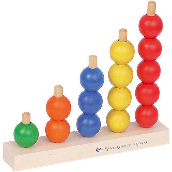 Деревянная пирамидка Краснокамская игрушка РадугаДеревянные игрушки<br>Характеристики товара:<br><br>• возраст: от 3 лет;<br>• из чего сделана игрушка (состав): натуральная древесина;<br>• размер упаковки: 22х24х6,5 см.;<br>• вес: 374 гр.;<br>• упаковка: картонная коробка;<br>• страна обладатель бренда: Россия.<br><br>Развивающая пирамидка-счеты «Радуга» от компании «Краснокамская игрушка» это прекрасная идея для увлекательного и полезного досуга. <br><br>Малышу предстоит сортировать детали по цветам и нанизывать их на стержни в соответствующем порядке. <br><br>Это поможет крохе освоить базовые навыки счета и познакомиться с разнообразием цветов и размеров. <br><br>В комплект входит шнурок, на который также можно нанизывать разноцветные бусины, развивая координационные навыки.<br><br>Пирамидку «Радуга» можно купить в нашем интернет-магазине.<br>Ширина мм: 220; Глубина мм: 240; Высота мм: 65; Вес г: 374; Возраст от месяцев: 36; Возраст до месяцев: 2147483647; Пол: Унисекс; Возраст: Детский; SKU: 7460711;