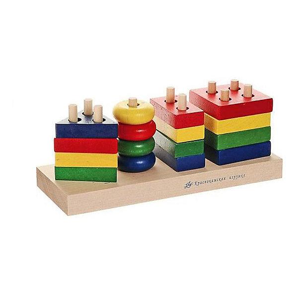 Деревянный сортер-пирамидка Краснокамская игрушка ГеометрикРазвивающие игрушки<br>Характеристики товара:<br><br>• возраст: от 1 года;<br>• из чего сделана игрушка (состав): натуральная древесина, акриловые краски;<br>• комплект: 4 круга, 4 квадрата, 4 треугольника, 4 прямоугольника, подставка со штырьками, шнурок;<br>• размер 1 детали: 6 см.;<br>• размер подставки: 8х22,5 см.;<br>• размер упаковки: 25,5х10х10 см.;<br>• вес: 594 гр.;<br>• упаковка: картонная коробка;<br>• страна обладатель бренда: Россия.<br><br>«Геометрик» это детский конструктор.<br><br>Он изготовлен из натурального дерева и окрашен акриловой краской. <br><br>В набор входит подставка со штыками, на которую необходимо надеть 16 разноцветных фигур. В каждой фигурке есть отверстия. Для начала все фигурки нужно рассортировать в зависимости от количества отверстий, а затем найти им правильное место на подставке.<br><br>Играя с таким конструктором, малыши будут развивать логическое мышление и мелкую моторику рук. Также в набор входит шнурок, который можно продевать сквозь отверстия в конструкторе.<br><br>Набор «Геометрик» можно купить в нашем интернет-магазине.<br>Ширина мм: 255; Глубина мм: 100; Высота мм: 100; Вес г: 594; Возраст от месяцев: 12; Возраст до месяцев: 2147483647; Пол: Унисекс; Возраст: Детский; SKU: 7460712;