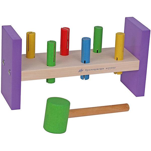 Деревянная стучалка Краснокамская игрушка СтучалкаРазвивающие игрушки<br>Характеристики товара:<br><br>• возраст: от 3 лет;<br>• комплект: основа, гвоздики, молоток;<br>• из чего сделана игрушка (состав): натуральная древесина, акриловые краски;<br>• высота подставки: 13 см.;<br>• длина молотка: 17 см.;<br>• размер упаковки: 15х28х10 см.;<br>• вес: 733 гр.;<br>• упаковка: картонная коробка;<br>• страна обладатель бренда: Россия.<br><br>Деревянный набор «Стучалка» от производителя «Краснокамская игрушка» представляет собой сортер в очень оригинальном оформлении.<br><br>Набор включает в себя молоточек, гвоздики, а также основу. <br><br>Ребенок проведет много времени, забивая чопики в отверстия, ведь это очень интересное и увлекательное занятие.<br> <br>Все элементы игрушки изготовлены из древесины высокого качества и окрашены безопасными акриловыми красками, что гарантирует полную безопасность для маленького ребенка.<br><br>Набор «Стучалка» можно купить в нашем интернет-магазине.<br>Ширина мм: 150; Глубина мм: 280; Высота мм: 100; Вес г: 733; Возраст от месяцев: 36; Возраст до месяцев: 2147483647; Пол: Унисекс; Возраст: Детский; SKU: 7460716;
