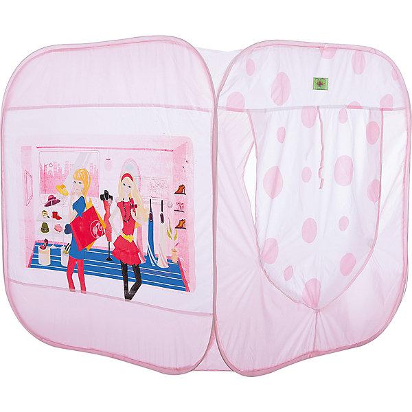 Игровая палатка Shantou Gepai Модные девчонки, в сумкеИгровые центры<br>Характеристики товара:<br><br>• возраст: от 3 лет;<br>• размер палатки: 85х85х86 см.;<br>• цвет: розовый;<br>• состав: текстиль, пластик, металл;<br>• размер упаковки: 36х4х38 см.;<br>• вес в упаковке: 800 гр.;<br>• упаковка: текстильная сумка с ручками;<br>• бренд, страна: Shantou Gepai, Китай;<br>• страна-производитель: Китай.<br><br>Палатка игровая «Модные девчонки » от торговой марки Shantou - это красочная разноцветная палатка, которая может послужить прекрасным домиком для игр малыша.Палатка станет очень хорошим подарком. Препровождение в палатке научит ребенка адаптироваться в любой среде, научит быть самостоятельным и организованным.<br><br>Предназначена специально для маленьких модниц, поскольку выполнена в любимой ими розовом цвете. В таком домике-палатке можно будет устраивать посиделки с подружками и делиться своими девичьими секретами. Большие окна, оборудованые специальной сеткой для вентиляции и защиты от насекомых, украшены ярким принтом. А вход игровой палатки закрывает удобная дверца-шторка, крепящаяся застежками на липучке и завязками. Изделие достаточно легкое, а с его установкой справится даже ребенок.<br><br>Палатка идеально подходит для сюжетно-ролевых игр на свежем воздухе или в помещении. В ней одновременно могут поместиться несколько малышей. Палатка сделана из водонепроницаемой ткани, он легко моется в случае необходимости. Очень проста в установке - сама разворачивается за счет каркаса-спирали, есть пол. Схема сборки в изначальное состояние прилагается.<br><br>Ассортимент товаров Shantou, сочетая превосходное качество, яркий и уникальный дизайн,  по праву получил признание миллионов покупателей во всем мире.<br><br>Палатку игровую «Модные девчонки», 85х85х86 см., Shantou можно купить в нашем интернет-магазине.<br>Ширина мм: 360; Глубина мм: 40; Высота мм: 380; Вес г: 800; Возраст от месяцев: 36; Возраст до месяцев: 2147483647; Пол: Женский; Возраст: Детский; SKU: 7460