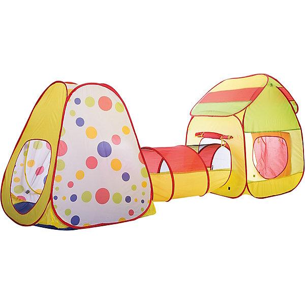 Игровой комплекс Shantou Gepai палатка с тоннелемИгровые центры<br>Характеристики товара:<br><br>• возраст: от 3 лет;<br>• комплект: 2 палатки, тоннель;<br>• размер комплекса: 324 х 90,5 х 106 см.;<br>• диаметр тоннеля: 45 см.;<br>• длина тоннеля: 85 см.;<br>• состав: текстиль, металл;<br>• размер упаковки: 48х5х48 см.;<br>• вес в упаковке: 2,2 кг.;<br>• упаковка: текстильная сумка с ручками;<br>• бренд, страна: Shantou Gepai, Китай;<br>• страна-производитель: Китай.<br><br>Игровой комплекс «Палатка с тоннелем» от торговой марки Shantou - отличный вариант для проведение активного досуга для детей. <br><br>Конструкция представляет собой 2 палатки, соединенные тоннелем. Каждая палатка имеет отдельный вход. У палаток и тоннеля упругий каркас, который раскладывается самостоятельно, нужно лишь придать ему форму. На одном из окошек имеется шторка. Палатки и тоннель скрепляются друг с другом при помощи каркаса, что делает палатку довольно устойчивой и прочной. Все детали комплекса легко сложить в сумку круглой формы, занимающую мало места. Комплекс изготовлен из полиэстера, который не промокает и не рвется, а каркас – из легкого металла. Схема сборки в изначальное состояние прилагается.<br><br>Яркий комплекс может быть чудесным местом для самостоятельной игры ребенка, а также отлично подойдет для сюжетно-ролевых игр вместе с друзьями. Одновременно играть могут несколько ребятишек. Рекомендовано использование не только в помещении, но и на улице. <br><br>Ассортимент товаров Shantou, сочетая превосходное качество, яркий и уникальный дизайн,  по праву получил признание миллионов покупателей во всем мире.<br><br>Игровой комплекс «Палатка с тоннелем», 324 х 90,5 х 106 см., Shantou можно купить в нашем интернет-магазине.<br>Ширина мм: 480; Глубина мм: 50; Высота мм: 480; Вес г: 2230; Возраст от месяцев: 36; Возраст до месяцев: 2147483647; Пол: Унисекс; Возраст: Детский; SKU: 7460866;