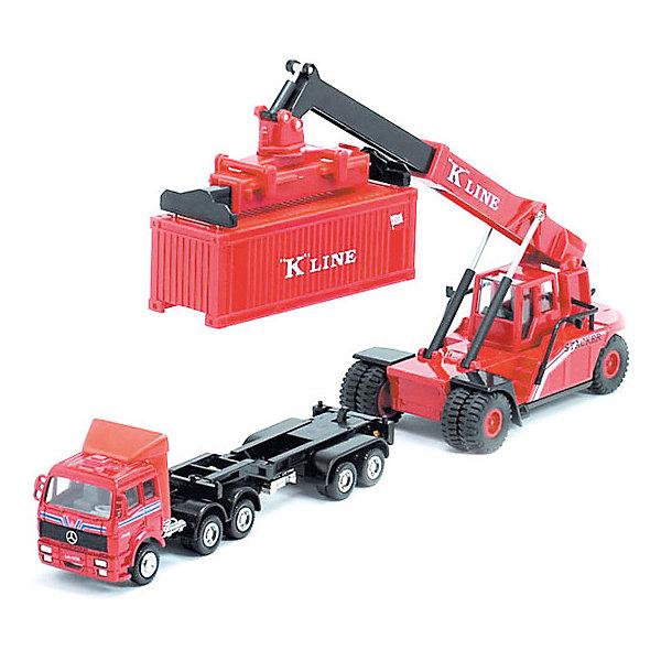 Машина Welly Контейнеровоз с погрузчиком Urban SpiritМашинки<br>Характеристики товара:<br><br>• цвет: красный;<br>• возраст: от 3 лет;<br>• в комплекте: контейнеровоз, контейнер, погрузчик;<br>• материал: металл, пластик;<br>• размер упаковки: 9х37х15 см;<br>• вес: 658 гр.;<br>• упаковка: картонная коробка блистерного типа;<br>• страна производитель: Китай.<br><br>Перед вами интереснейший набор Welly, в котором представлена модель контейнеровоза, контейнер и погрузчик. <br><br>Перевозку груза осуществляет известная компания K-LINE, легко узнаваемая по ярко-красному цвету контейнеров и техники, а также белому логотипу. Погрузчик оснащен телескопической стрелой, благодаря которой он может без проблем поднять груз, маневрировать им и с максимальной точностью установить на контейнеровоз. Обе машинки выполнены с максимальной детализацией, похожи на настоящие и оснащены вращающимися колесами.<br><br>Данный набор позволит придумать множество сюжетных игр, а благодаря качественным материалам, из которых изготовлена спецтехника, ребенок будет играть в свое удовольствие долгое время.<br><br>Набор «Контейнеровоза с погрузчиком» от бренда Welly можно приобрести в нашем интернет-магазине.<br>Ширина мм: 90; Глубина мм: 370; Высота мм: 150; Вес г: 658; Возраст от месяцев: 36; Возраст до месяцев: 2147483647; Пол: Мужской; Возраст: Детский; SKU: 7460901;