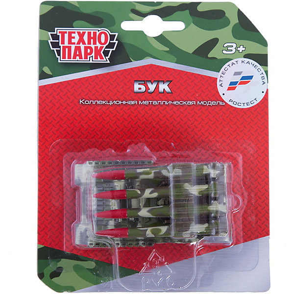 Металлическая модель Технопарк ЗРК БУК, 7.5 см (зеленый)Военный транспорт<br>Характеристики товара:<br><br>• возраст: от 3 лет;<br>• комплект: 1 машина;<br>• длина машины: 7,5 см.;<br>• из чего сделана игрушка (состав): металл, пластик;<br>• размер упаковки: 12х3х15 см.;<br>• вес: 70 гр.;<br>• упаковка: блистер на картоне;<br>• страна обладатель бренда: Россия.<br><br>Металлическая модель «Бук» от производителя «Технопарк» создана специально для маленьких любителей военной техники. Игрушка является копией зенитного ракетного комплекса, который стоял на вооружении советской армии с 1972 года. <br><br>Коллекционная машинка обладает реалистичным дизайном. Игрушка снабжена четырьмя ракетами. Благодаря игрушечной спецтехнике игры-стратегии ребенка будут очень интересными.<br><br>Модель ЗРК «Бук» можно купить в нашем интернет-магазине.<br><br>Ширина мм: 120<br>Глубина мм: 30<br>Высота мм: 150<br>Вес г: 70<br>Возраст от месяцев: 36<br>Возраст до месяцев: 2147483647<br>Пол: Мужской<br>Возраст: Детский<br>SKU: 7461015