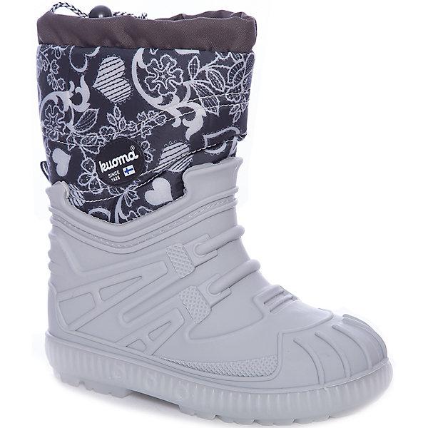 Сноубутсы Vihuri Kuoma для девочкиОбувь<br>Характеристики товара:<br><br>• цвет: серый<br>• внешний материал: текстиль<br>• внутренний материал: до 26 размера - натуральный мех, с 27 - искусственный<br>• стелька: до 26 размера - натуральный мех, с 27 - искусственный<br>• подошва: SEBS<br>• сезон: демисезон<br>• температурный режим: от -10 до +5<br>• застежка: утяжка<br>• анатомические <br>• подошва не скользит<br>• защита мыса<br>• страна бренда: Финляндия<br>• страна изготовитель: Финляндия<br><br>Такие детские сноубутсы имеют толстую устойчивую подошву с амортизатором. Сапоги для девочки Kuoma разработаны специально для детей, поэтому подошва способствует поглощению ударов при ходьбе и равномерному распределению веса ребенка на стопу. Отличная теплоизоляция поможет ногам не мерзнуть в таких сноубутсах для детей.<br><br>Сапоги Vihuri Kuoma (Куома) для девочки можно купить в нашем интернет-магазине.<br>Ширина мм: 257; Глубина мм: 180; Высота мм: 130; Вес г: 420; Цвет: серый; Возраст от месяцев: 36; Возраст до месяцев: 48; Пол: Женский; Возраст: Детский; Размер: 27,32,35,34,33,31,30,29,28; SKU: 7461154;