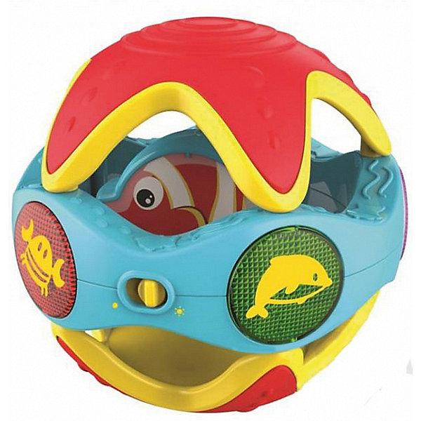 Развивающая игрушка 1Toy Kidz Delight Шар с активностями, со звуком, мелодиямиИнтерактивные игрушки для малышей<br>Характеристики товара:<br><br>• возраст: от 1 года;<br>• размер упаковки: 20х16х16 см.;<br>• игрушка на батарейках, которые входят в комплект;<br>• состав: пластик, металл;<br>• упаковка: картонная коробка открытого типа;<br>• вес в упаковке: 500 гр.;<br>• бренд, страна: 1 TOY, Россия;<br>• страна-производитель: Китай.<br><br>Игрушка развивающая «Шар с активностями, звуком и мелодиями» - интерактивная игрушка от бренда 1 TOY привлечет внимание мальчиков и девочек не только своими ярким оформлением, но и звуковыми эффектами и мелодиями. <br><br>На поверхности шара расположены четыре кнопочки: одна музыкальная и три с изображениями морских обитателей (краба, рыбки и дельфина). При нажатии на кнопочку загорается подсветка и звучит характерный звук животного. Если трясти или катить шар, также играет мелодия. Внутри шара находится маленькая рыбка, которую можно вращать.  <br><br>Работает игрушка от батареек, которые входят в комплект. Изготовлена из пластика высокого качества, безвредного для детского здоровья.<br><br>Обучающие игрушки от бренда 1 TOY  нацелены на развитие мелкой моторики, образного мышления, усидчивости, любознательности и других полезных навыков.<br><br>Игрушка развивающая «Шар с активностями, звуком и мелодиями» (звук) от 1 TOY  можно купить в нашем интернет-магазине.<br>Ширина мм: 200; Глубина мм: 160; Высота мм: 160; Вес г: 500; Возраст от месяцев: 12; Возраст до месяцев: 2147483647; Пол: Унисекс; Возраст: Детский; SKU: 7464019;