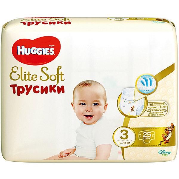 Трусики-подгузники Huggies Elite Soft M (3), 6-11 кг., 25 шт.Трусики-подгузники<br>Характеристики:<br><br>• размер: М;<br>• вес ребенка: 6-11 кг;<br>• количество в упаковке: 25 шт.;<br>• впитывающие каналы;<br>• эластичный поясок;<br>• надеваются как трусики;<br>• индикатор влаги;<br>• воздухопроницаемые поры в виде отверстий;<br>• «дышащие» трусики: более 10 000 микропор.<br><br>Трусики-подгузники легко надеваются и снимаются. Специальные каналы впитывают влагу и помогают запереть ее внутри. Эластичный поясок мягкий на ощупь, адаптируется к размеру животика малыша, не сдавливает, не натирает. Индикатор влаги подсказывает, когда пора сменить трусики. <br> <br>Трусики-подгузники Huggies Elite Soft M (3), 6-11 кг., 25 шт. можно купить в нашем интернет-магазине.<br>Ширина мм: 210; Глубина мм: 150; Высота мм: 260; Вес г: 867; Возраст от месяцев: 3; Возраст до месяцев: 24; Пол: Унисекс; Возраст: Детский; SKU: 7464166;