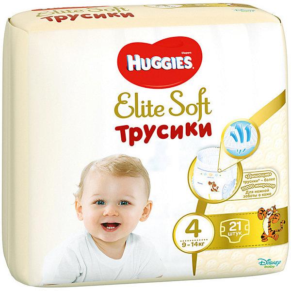 Трусики-подгузники Huggies Elite Soft L (4), 9-14 кг., 21 шт.Трусики-подгузники<br>Характеристики:<br><br>• размер: L (4);<br>• вес ребенка: 9-14 кг;<br>• количество в упаковке: 21 шт.;<br>• впитывающие каналы;<br>• эластичный поясок;<br>• надеваются как трусики;<br>• индикатор влаги;<br>• воздухопроницаемые поры в виде отверстий;<br>• «дышащие» трусики: более 10 000 микропор.<br><br>Трусики-подгузники легко надеваются и снимаются. Специальные каналы впитывают влагу и помогают запереть ее внутри. Эластичный поясок мягкий на ощупь, адаптируется к размеру животика малыша, не сдавливает, не натирает. Индикатор влаги подсказывает, когда пора сменить трусики. <br> <br>Трусики-подгузники Huggies Elite Soft L (4), 9-14 кг., 21 шт. можно купить в нашем интернет-магазине.<br>Ширина мм: 210; Глубина мм: 150; Высота мм: 220; Вес г: 781; Возраст от месяцев: 6; Возраст до месяцев: 24; Пол: Унисекс; Возраст: Детский; SKU: 7464167;