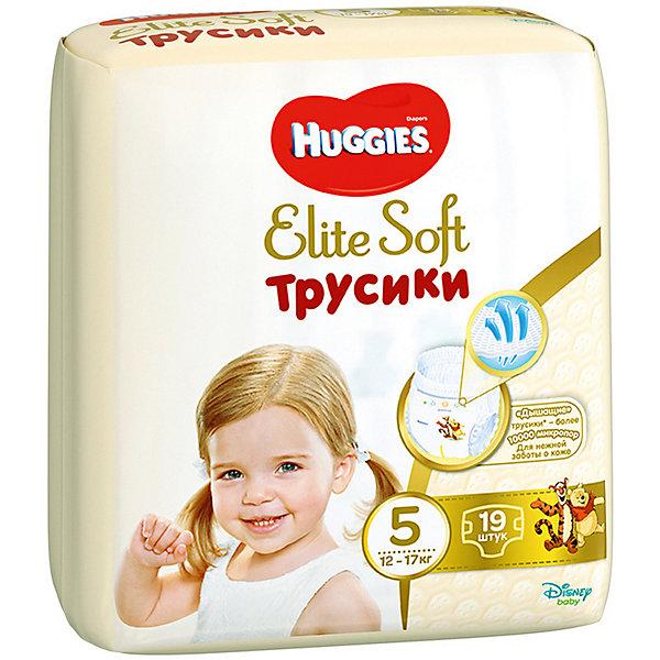 Трусики-подгузники Huggies Elite Soft XL (5), 12-17 кг., 19 шт.Трусики-подгузники<br>Характеристики:<br><br>• размер: XL (5);<br>• вес ребенка: 12-17 кг;<br>• количество в упаковке: 19 шт.;<br>• впитывающие каналы;<br>• эластичный поясок;<br>• надеваются как трусики;<br>• индикатор влаги;<br>• воздухопроницаемые поры в виде отверстий;<br>• «дышащие» трусики: более 10 000 микропор.<br><br>Трусики-подгузники легко надеваются и снимаются. Специальные каналы впитывают влагу и помогают запереть ее внутри. Эластичный поясок мягкий на ощупь, адаптируется к размеру животика малыша, не сдавливает, не натирает. Индикатор влаги подсказывает, когда пора сменить трусики. <br> <br>Трусики-подгузники Huggies Elite Soft XL (5), 12-17 кг., 19 шт. можно купить в нашем интернет-магазине.<br>Ширина мм: 220; Глубина мм: 170; Высота мм: 200; Вес г: 775; Возраст от месяцев: 18; Возраст до месяцев: 36; Пол: Унисекс; Возраст: Детский; SKU: 7464168;
