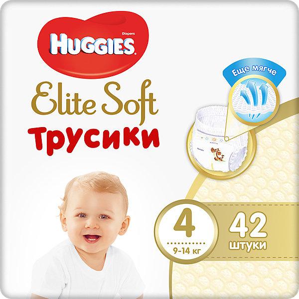Трусики-подгузники Huggies Elite Soft L (4), 9-14 кг., 42 шт.Трусики-подгузники<br>Характеристики:<br><br>• размер: L (4);<br>• вес ребенка: 9-14 кг;<br>• количество в упаковке: 42 шт.;<br>• впитывающие каналы;<br>• эластичный поясок;<br>• надеваются как трусики;<br>• индикатор влаги;<br>• воздухопроницаемые поры в виде отверстий;<br>• «дышащие» трусики: более 10 000 микропор.<br><br>Трусики-подгузники легко надеваются и снимаются. Специальные каналы впитывают влагу и помогают запереть ее внутри. Эластичный поясок мягкий на ощупь, адаптируется к размеру животика малыша, не сдавливает, не натирает. Индикатор влаги подсказывает, когда пора сменить трусики. <br> <br>Трусики-подгузники Huggies Elite Soft L (4), 9-14 кг., 42 шт. можно купить в нашем интернет-магазине.<br>Ширина мм: 420; Глубина мм: 150; Высота мм: 220; Вес г: 1563; Возраст от месяцев: 6; Возраст до месяцев: 24; Пол: Унисекс; Возраст: Детский; SKU: 7464170;